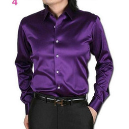 Canada Vente en gros-Men Dress Shirt Custom Casual costumes en satin de soie à manches longues chemises Casual mode style marié chemises pourpre couleur cheap purple silk shirts Offre