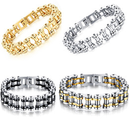 Wholesale Mens Silver Rings Wholesale - 316L Stainless Steel bike chain bracelets Punk harley Motorcycle Biker chains Bangle For Mens Fashion Jewelry