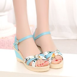 Wholesale Ankle Wrap Flat Sandals - 2017 summer new color printing flat down slope with women's sandals fashion buckle high-heeled women's designer sandals tide wholesale