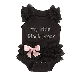 Wholesale 12 Month Christmas Dress - New Arrival Bowknot Diamond Letter Lace Summer Romoers My Little Baby Dress Black Cute Bow Baby Girl Romper Climb Clothes A7155