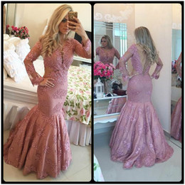 Wholesale Luxury Beaded Pearls Layout Evening Dresses Sexy Backless V Neck Mermaid vestido longo Robe de Soirre Gown