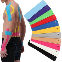 Wholesale Pre Pad - Wholesale- CAMTOA 2pcs 10inch Kinesiology Elastic Pre-Cut Strip Adhesive Sports Tape Wrist Shoulder Pain Relief Muscle tape elbow knee pads