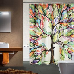 Wholesale Modern Curtains Designs - Wholesale- Big Colorful Tree Design Pattern Bath Waterproof Polyester Fabric Shower Curtain + Hooks Bathroom Tool