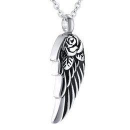 Wholesale Stainless Steel Feather Necklace - ijd8371 Angel Wing Feather Ash Holder Urn Memorial Jewelry Hold Ashes Cremation Neckalce Pendant Funeral Urn Casket Cremation Jewelry