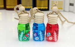 Wholesale Pottery Decorations - Perfume Empty Bottles Car Hang Decoration Pendant Pottery Essential Oils Ceramic Glass Hang Rope Necklace 3 Colors