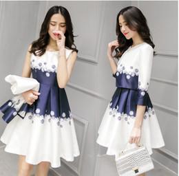 Wholesale Thin Knee Length Dress - Joker 2017 spring summer dress slim show thin vest dress two-piece dress+coat pure fresh women elegant dress