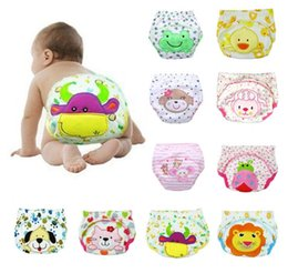Wholesale Infant Reusable Diaper Nappies - Animal Lion Frog Baby Diapers Reusable Nappies Cloth Diaper Washable Infants Toddler Baby 3 Layers Cotton Diaper Nappy