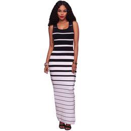 Wholesale Thigh High Maxi Dresses - 2017 Summer Maxi Dress Long Striped Slim Bodycon Dress Thigh High Split Sleeveless Sundress Robe Sexy Party Dresses