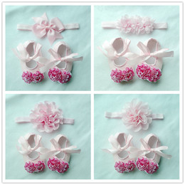 Wholesale Baby Baptism Shoes Lace - Wholesale- 2017 Newborn Baby Girl Shoes Brand,Pink baptism,Toddler Infant Fabric Baby Booties Headband Set, Baby Walker First Walkers Shoe