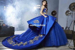 Wholesale Gold 15 Dresses - Royal Blue Quinceanera Dresses 2017 Sweetheart Beads Ball Gown Floor-Length PromDress Vestidos De 15 Anos Birthday Party Sweet 16 Dresses