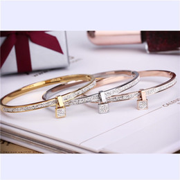 Wholesale Padlock Clasp - 2017 New Fashion Stainless Steel Bangles Bracelet For Women Padlock Gold Rose Gold Silver Color Key Charm Famous Brand Jewelry