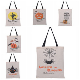 Wholesale Print Tools - New Halloween Sacks Candy Gifts Bag Handbag Reusable Canvas Tote Bag Cartoon Canvas Tote Pumpkin Spider Print Shoulder Bag 36*46cm WX-B14