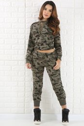 Wholesale Women S Swimming Pants - 2017 Fashion spring Autumn long sleeved Camouflage suits womens tracksuits uniform Outfit 2 Piece Pants Sets Camouflage Sweat Sports Suits