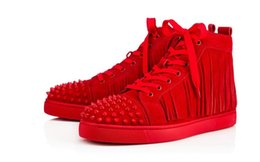 Wholesale Rubber Band Hair Designs - New brand men and women tassel leather horse hair red bottom high top sports shoes, design reasons flat shoes sports shoes size 35-46