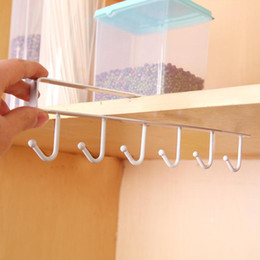 Wholesale Clothing Cabinets - Kitchen Storage Rack Cupboard Hanging Row Of Hook Without Trace Iron Cabinets Multi Function Dish Hanger Bathroom Non Nail 3 3zf F R