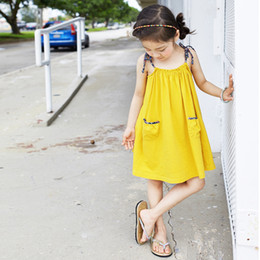 Wholesale Braces For Children - New Summer 2017 Girls Dresses Braces Floral shoulder-straps Party Dress For Big GirlBeach Girl Dress Children Clothing Dresses Yellow A6753