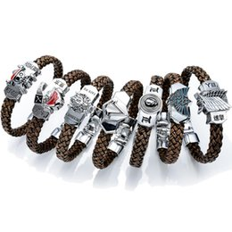 Wholesale Cartoon Claws - Anime Cartoon Final Fantasy Assassins Creed Legend of Zelda One Piece Attack on Titan Tokyo Ghoul Death Note Wristband Woven bracelet b039