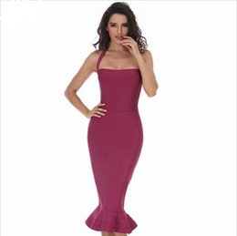 Wholesale Sexy Backless Midi Dresses - 2018 New Fashion Women Party Bodycon Bandage Dress Sexy Khaki Wine Red Off Shoulder Halter Fishtail Midi Club Backless summer Dresses