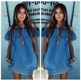 Wholesale Women S Blue Jean Dresses - Hot Selling Fashion Women New Edition Sexy Off Shoulder Falbala Neck Denim Jean Dress Casual Summer Dress S-XL CL039