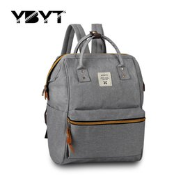 Wholesale Ladies Backpack Shopping Bags - Wholesale- new medium canvas bookbags preppy style rucksack appliques women simple shopping pack ladies travel bags student school backpack