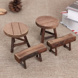 Wholesale Miniature Wooden - Garden Park Bench Chair Ornament Miniature Figurine Handmade DIY Resin Craft Micro Landscape Decoration Wooden Stool