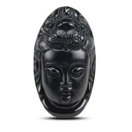 Wholesale Carved Kwan Yin Pendants - KYSZDL Natural Black Obsidian Carved Kwan-Yin Lucky Pendants Beads Necklace Men and Women Healthy Care Obsidian Pendant Jewelry
