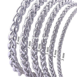 """Wholesale Rope Chain Mens - Width 3mm 4mm 5mm 6mm 7mm 8mm 316L Stainless Steel Mens Necklace Twist Chain Knitting Rope Flower Basket Chain (18""""-22"""" inches)"""