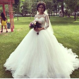 Wholesale Sleeved Lace Backless Wedding Dress - 2017 Garden Wedding Dresses Princess Long Sleeved Sheer Tulle Appliques Lace Puffy Bridal Gowns Vestido De Noiva Princess White Ivory Custom