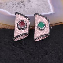 Wholesale Skins Pretty - 5pcs Pretty Rhinestone Bag Shape Fish skin Druzy Pendant Clover Gemstone Beads For Necklace Making Jewelry