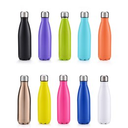 Wholesale Customized Stainless Steel Water Bottles - Cola Shaped Bottle Insulated Double Wall Vacuum high-luminance Water Bottles 17oz 500ml Creative Thermos bottle accept customized logo