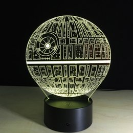 Wholesale Egg Lamps - Star Wars Death star 3D LED Night Light Touch Switch Table Lamp USB 7 Color Room Decor Colorful LED Lighting for Gift IY803327