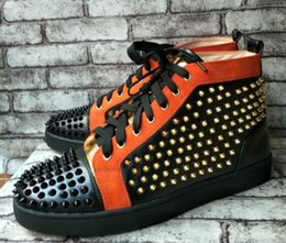 Wholesale Leather Sole Shoes For Men - wholesale New Real Photos Colorful Spike Rivets Studded Red Bottom Casual Shoes for Men sneakers Luxury Sole High Top Flats Shoes 36-47