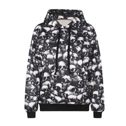 Wholesale Cool Hooded Sweatshirts - Fashion 3d print spiritual pollution full skulls painting hoodie vivid paint boys girls cool sweatshirt high quality smooth material cloth