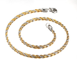 Wholesale Twisted Link Chain Stainless Steel - 4MM Wide Link Chain Necklace Twisted Chain Gold+Sliver Men Necklaces Long Stainless Steel Chain NC-036