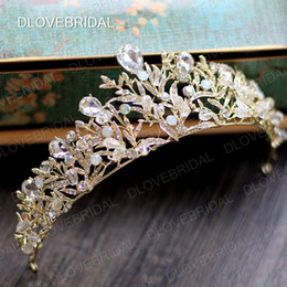 Wholesale Colorful Crowns - Stunning Gold Silver Bridal Crown Free Shipping High Quality Colorful Clear Crystal Wedding Prom Party Tiara Hair Accessories Real Photos