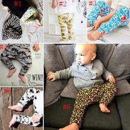 Wholesale Loose Leggings Girls - 6 Style kids INS Leopard pp pants baby toddlers New boys girls fox dinosaur geometric figure fruit trousers Leggings C2360