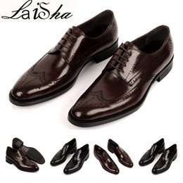 Wholesale E Lace Wedding Dresses - 2017 High Quality Men Dress shoes Luxury Brand Oxford Genuine Leather Buckle Strap Mens Dress Italian Leather Flats Size 39-44