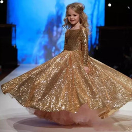 Wholesale Girls Sequin Formal Dress - Gold Sequined Long Sleeves Girls Pageant Gowns 2017 Jewel Ball Gown Flower Girl Dresses For Wedding Children Formal Party Dress
