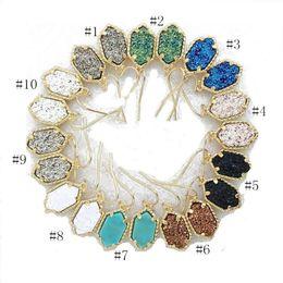 Wholesale Red Jade Dangle Earrings - Hot Kendra Druzy Stone Earrings Geometric Scott Gemstone Earring Gold Plating Dangle Earring for Lady Free Shipping