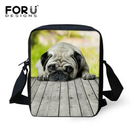 Wholesale Wholesale Pewter Crosses - Wholesale- 2016 Brand Animal Pug Dog Print Messenger Bag for Women Mini Teenager Girls Crossbody Bag Children Kid Small Travel Bag Bolsas