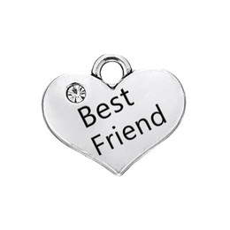 Wholesale Wholesale Engraved Bracelet Charms - Heart Pendant Best Friend Engraved Words With Clear Crystal Antique Silver Plated Fashion Charm DIY Necklaces&Bracelets