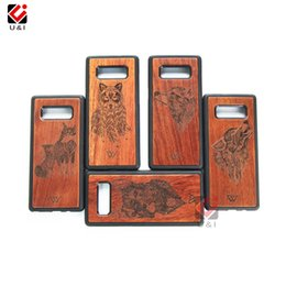 Wholesale Galaxy Note Wood - Original Wood Case For Samsung Galaxy Note 8 Note8 Case Mobile Cell Phone Case Shockproof Soft TPU Cover Rosewood Animal Wolf Engrave Coque