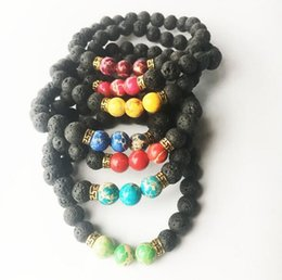 Wholesale Natural Wood Pieces - Brand new Natural stone volcanic stone emperor stone turquoise bracelet FB255 mix order 20 pieces a lot Charm Bracelets