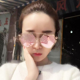 Wholesale TSHING RAY New Oversized Women Steampunk Sunglasses Fashion Female Metal Frame Unique Geometry Twin Beams Mirror Sunglases