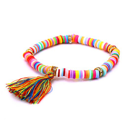 Wholesale Stretch Bracelet Chain Ring - Wholesale-2016 Bohemian Pendant Candy Color Polymer Clay Charm Bracelet for Women Elastic Stretch Bracelets & Bangle Pulseira Dropshipping