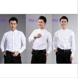 Wholesale Groom Groomsmen Shirts - Groom Tuxedos Shirts Best Man Groomsmen White or Black Men Wedding Shirts