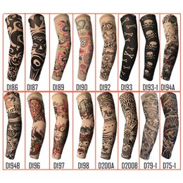 Wholesale Tattoo Sleeve Anti Uv - Randomly Trendy Unisex Outdoor Sport Anti-UV Fake Tattoo Sleeves Motorcycle Hiking Arm Protective Warm Stocking Sleeves Temporary Tattoo