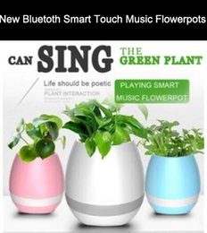 Wholesale Real Audio Music - New Bluetooth Smart Music Flower pots intelligent real plant touch play flowerpot colorful light long time play bass speaker Night light
