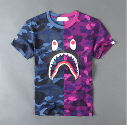 Wholesale Cotton Tshirts - Mens women Sportwear Tshirts Jogger Tracksuit Pullover cotton Crewneck Bird OVO Drake Black Hip Hop stusay Tee tops patchw Shark mouth print