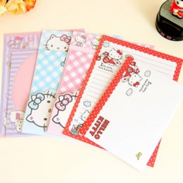 Wholesale Cartoons Letter Pad - Wholesale- 4Pcs set Kawaii Cartoon Hello Kitty Kraft Letter Paper with Envelope Letter Pad Gift Stationery School Office Supply